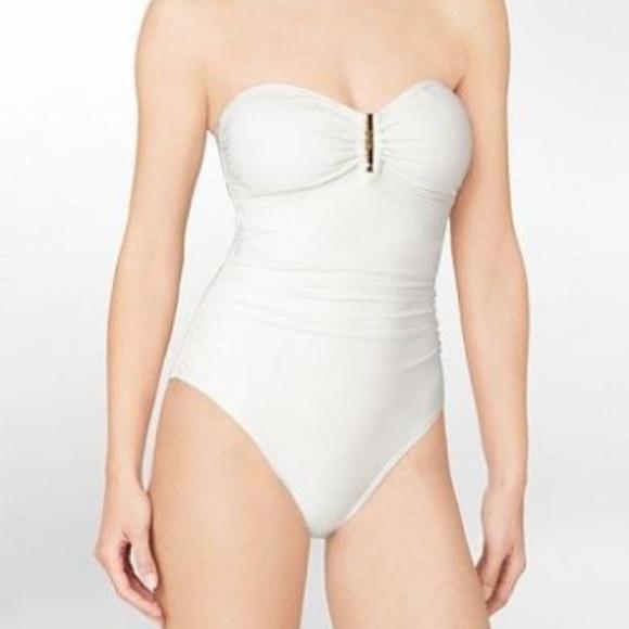 f261c21dbbd70 Calvin Klein Swim | Shirred Bandeau One Piece Suit | Poshmark